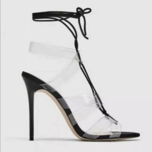 Zara Shoes - ZARA Clear Criss-Cross Tie up Heels